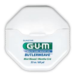 GUM Butlerweave, tandtråd, m/voks, mint, 55 m