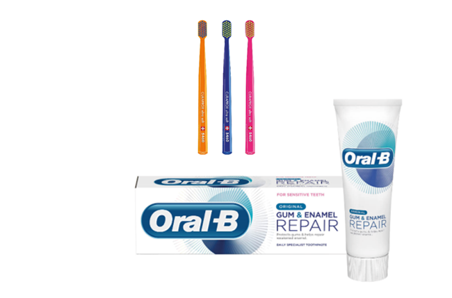 Curaprox CS 5460, 3 pack + Oral-B Gum & Enamel 75ml*4 tuber - Spar 14 %