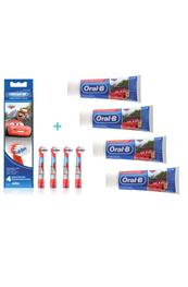 Oral-B, Cars børstehoveder - 4 stk. PLUS Cars, tandpasta 4 stk., 75 ml. ståtube
