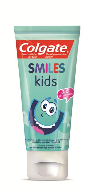 Colgate, Smiles, tandbørste, 2-6 år, 6 stk incl. 6 tuber tandpasta - 19ml
