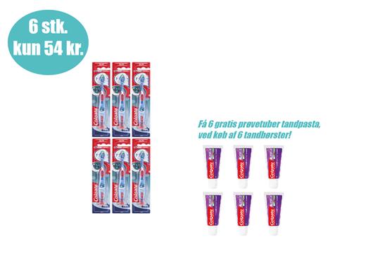 Colgate, Smiles, tandbørste, 6+ år, 6 stk      incl. 6 tuber tandpasta - 19ml